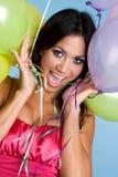 Birthday Balloons Girl. Happy hispanic birthday balloons girl Royalty Free Stock Photos