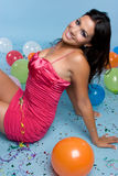 Birthday Balloons Girl Royalty Free Stock Photography