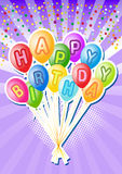 Birthday balloons.Happy birthsday card Stock Photography