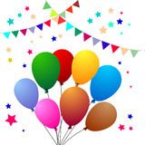 Birthday balloons. Illustration of birthday party balloons background Royalty Free Stock Photos