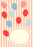 Birthday balloons invitation card Stock Image