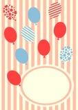 Birthday balloons invitation card Stock Image