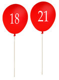 Birthday balloons 18 and 21, red isolated over white Stock Images