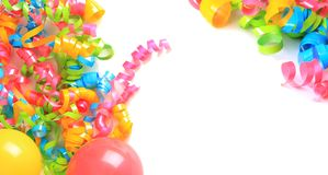 Birthday balloons and ribbons stock photo