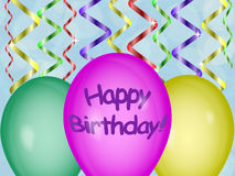 Birthday balls. Colorful balloons on a background of ribbons royalty free illustration
