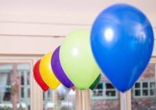 Birthday baloons in different colours. Latex Birthday baloons in different colours, blue,green,purple, yellow, red royalty free stock photos