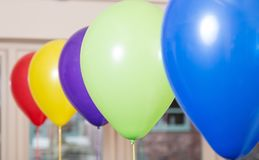 Birthday baloons in different colours. Latex Birthday baloons in different colours, blue,green,purple, yellow, red stock photography