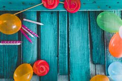 Birthday baloons and objects Stock Photo