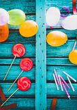 Birthday baloons and objects Stock Images