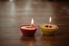 Birthday Banana muffin on wooden background Royalty Free Stock Photos