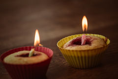 Birthday Banana muffin on wooden background Royalty Free Stock Image