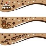 Birthday banner. Chocolate teddy bear birthday banner that design in three types Stock Image