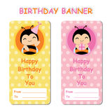 Birthday banner with cute bees on orange pink background suitable for Birthday background. Wallpaper, and banner Stock Photography