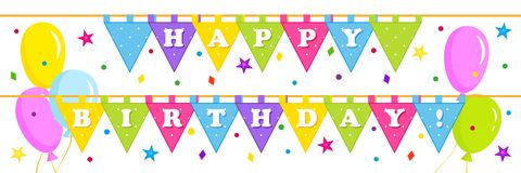 Birthday banner with triangular flags. Birthday banner, greeting banner with balloons, colored triangular flags, stars and confetti, greeting inscription - Happy Royalty Free Stock Image