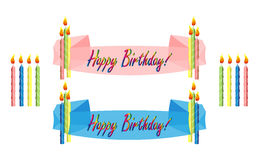 Birthday banners and candles. Birthday banner in blue or pink with rainbow text and multicolored candles Stock Images