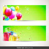 Birthday banners - vector set. Vector set of two birthday banners with colorful balloons anf gifts Stock Photo