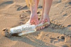 Birthday beach bottle Royalty Free Stock Photos