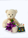 Birthday bear. Stuffed teddy bear holds flowers and a happy birthday sign. isolated on white Royalty Free Stock Photos