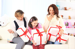 A birthday  beautiful gift. Surprise together Royalty Free Stock Photos
