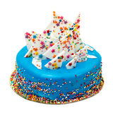 Birthday Blue Cake with Colorful Sprinkles Royalty Free Stock Images