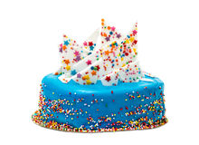 Birthday Blue Cake with Colorful Sprinkles Royalty Free Stock Photo