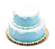 Birthday blue cake with mini balls isolated on white background Royalty Free Stock Image