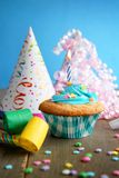 Birthday blue cupcake Royalty Free Stock Photos