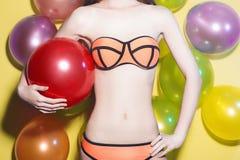 Birthday body in bikini Stock Photography
