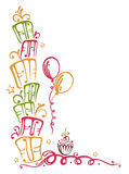 Birthday border. Colorful birthday gifts with balloons and muffin Royalty Free Stock Photos