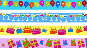 Birthday borders. Set of four birthday party celebration page border designs Stock Image