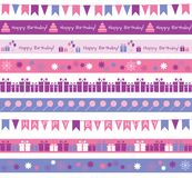 Birthday borders. Set of different borders for birthday party or greetings Royalty Free Stock Images