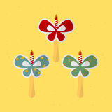 Birthday bow. Birthday ribbon on a stick. vector format Stock Images