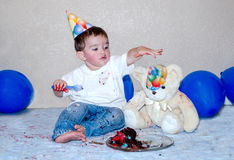 Birthday boy with bear and cake Royalty Free Stock Photography