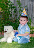 Birthday boy and bear Stock Photography