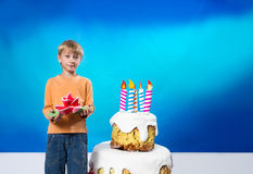 Birthday boy with cake Royalty Free Stock Image