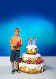 Birthday boy with cake Royalty Free Stock Photos