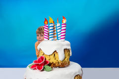 Birthday boy with cake Stock Photography