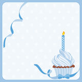 Birthday boy cake background with one candle Stock Image