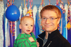 Birthday Boy with Daddy Stock Photography