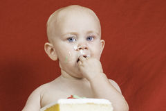 Birthday Boy Eating Cake Stock Photos