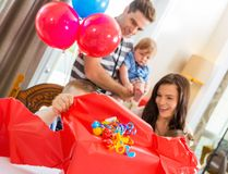 Birthday Boy Opening Gift Box Royalty Free Stock Image