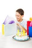 Birthday Boy Opens Presents Stock Photo