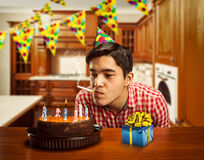 Birthday boy smoking Stock Images
