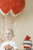 Birthday Boy with Sock Monkey Stock Photos