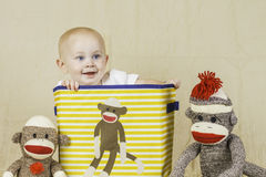 Birthday Boy with Sock Monkey Royalty Free Stock Photo
