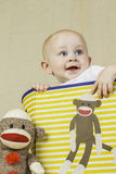 Birthday Boy with Sock Monkey Stock Photo