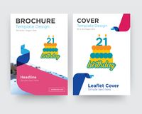 21 birthday brochure flyer design template. With abstract photo background, minimalist trend business corporate roll up or annual report Stock Images