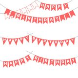 Birthday bunting with letters. Set of hand drawn vector illustrations with bunting, Happy Birthday letters written on the flags. Isolated objects on white Royalty Free Stock Image