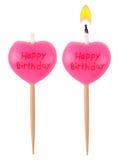 Birthday burning candle heart set isolated Stock Photos