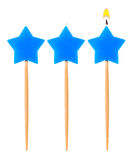 Birthday burning candle star set isolated Royalty Free Stock Photography